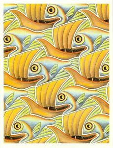 Fish and Boats  :  M. C. Escher : circa 1921  Archival Quality Art Deco Print