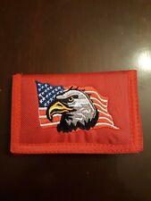 America wallet American Eagle USA TRI-FOLD NYLON RaRe NEW!! Patriotic red