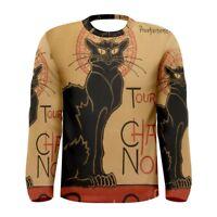 Le Chat Noir Black Cat Sublimated Men's Long Sleeve T-shirt Size S-3XL Free Ship