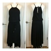 ATHLETA Womens Black Malti Maxi Dress High Low Hem Stretch Drawstring Halter S