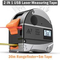 Handheld Digital Laser Point Distance Meter Tape RangeFinder Measure 30m+5m Tape