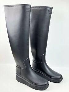 Hunter Women's Black Refined Slim Fit Creeper Knee-High Tall Boots sz: US 6