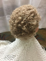"""#001 Vintage 12-13""""  Stretchy Synthetic Blonde Doll Wig for Vintage Antique Doll"""