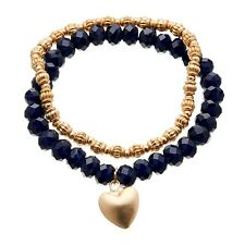 Set of two Bracelet - matt gold beads & navy blue with heart charm - Yori B20-28