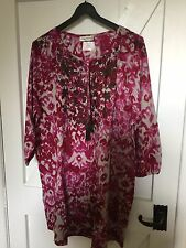 "Ulla Popken plus size 20/22 (50""Chest) Grey Magenta cotton Tie Dye Boho top"