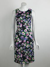 New Joseph Ribkoff Dress Black Purple Green Floral Print Sleeveless Size 8 NWT