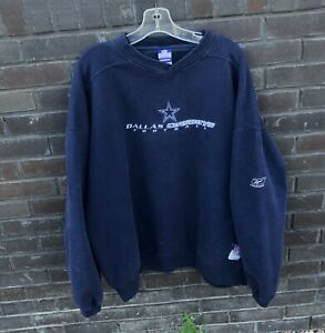 Reebok Dallas Cowboys Crewneck V Neck Sweater Vintage NFL Football Size Mens XXL
