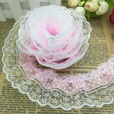 New 5 Yards 3-layer 45mm Dot Organza Pleated Trim Lace Sewing Sequin Trim Pink
