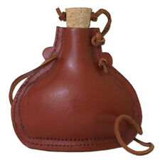 Battle Merchant Feldflasche Stahl Lederbezug 18cm Trinkflasche Mittelalter LARP