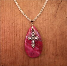 """Dark Pink Genuine Heart Stone Pendant Cross Crystals Charm SP Chain 20"""" Necklace"""