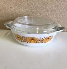 Vintage Retro 1970s Pyrex JAJ Orange Sunflower Round Casserole Dish