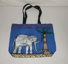 Hand Painted Canvas Tote Bag Elephant and Palm Tree