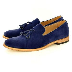 Mens Suede Loafers Driving Shoes Tassel Design Slip On Leather Lined UK Siz 6-11