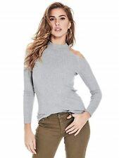 GUESS Sweater Women's L/S Stretch Rib Knit Cold Shoulder Sweater M/L Grey NWT