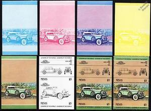 1932 PIERCE ARROW V12 Car Stamps (1984 Nevis Progressive Proofs / Auto 100)