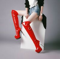 Sexy Women Over-Knee Boots Shiny Round Toe Stiletto Boots Woman Plus Size 3-16