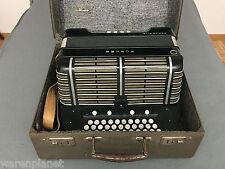 Hohner Morino club acordeón armónica...... con maleta más viejo Accordion harmonica