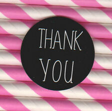 200 x THANK YOU, GLOSSY Finish , White ink , Black Stickers - 3cm  wide