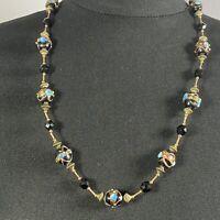 VINTAGE Venetian Murano Necklace Black & Gold Wedding Cake Lampwork Glass Beads