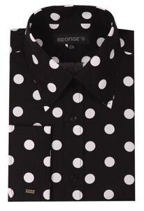 Men's French Cuff  Polka Dot Design Spread Collar Dress Shirt