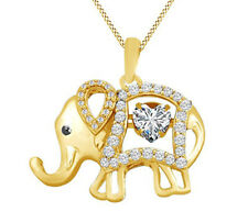 Round Cut Cubic Zirconia Elephant Floater Pendant Necklace In Sterling Silver