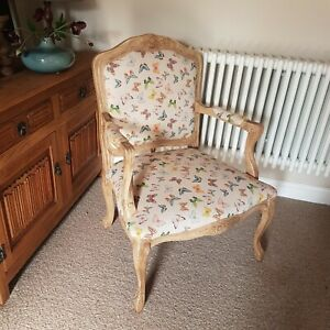 Large Louis Style Arm Chair Occasional Linen Butterflies