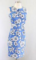 NWT Banana Republic Blue Black White Floral Print Sheath Dress Size 00P Career