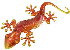 Orange 44 cm Glass and Metal Gecko -Lizard Plaque Sign Home Wall Art Garden Home