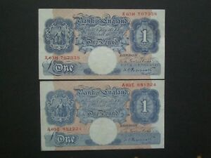 **2 Decent British WWII Peppiatt 1st & Last  £1**Crisp* 'GVF' ++ Banknotes****