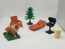 Vintage Fisher Price Dollhouse Outside Furniture Patio Chairs Collie Dog Grill