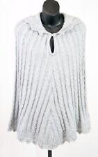 BCBG Max Azria Grey Alpaca Blend Scalloped Cable Knit Poncho Cape L XL NWT