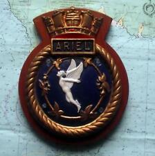 "HMS ARIEL Royal Navy Ship Metal Tampion Plaque Crest 10"" X 8"" Approx 3lb"