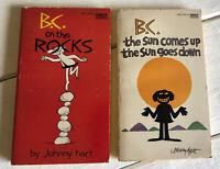 2x B.C. Johnny Hart On The Rocks PB Sun Comes Up Goes Down Fawcett Vtg
