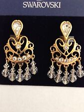 Swarovski Chandelier Clear Crystal & Gold Clip Earrings Signed - LOVELY! - NWT