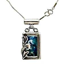 Roman glass Jewelry pendant on Israeli sterling silver necklace Bluenoemi Jewel