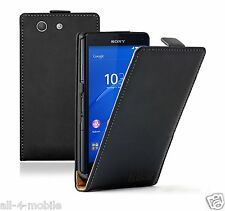 Ultra Slim BLACK Leather Case Cover Saver For Sony Xperia Z3 COMPACT experia