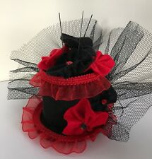 Burlesque style Black and Red Mini Top Hat Fascinator