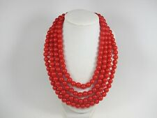 Red beaded necklace,multi strand statement red necklace, chunky red necklace
