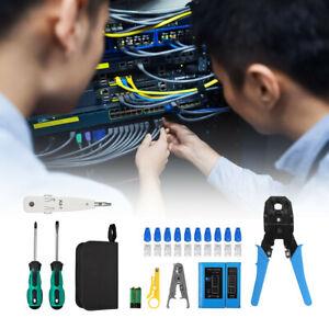 Netzwerk Reparaturwerkzeug Set Computer Wartung LAN Kabel Tester Crimpzange RJ45
