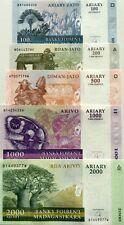 MADAGASCAR 2004 SET. 100 200 500 1000 2000 Ariary GREAT UNCIRCULATED BANKNOTES