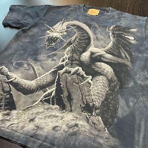 The Mountain Brand Mens Size Medium T-Shirt Tee Medieval Dragon Slayer Tie Dye