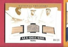 Babe Ruth ROGERS HORNSBY TRIS SPEAKER GAME USED JERSEY & BAT CARD #d25 TREASURES