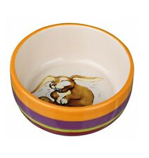 RABBIT BOWL CERAMIC 15cm WITH RABBIT PICTURE STRIPED Dish Washer Safe