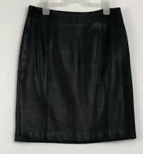 Petite Sophisticate Straight Black Leather Skirt Size 6
