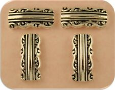 2 Hole Beads Baroque Rococo Raised Filigree Pattern ~Silver Plated Sliders QTY 4
