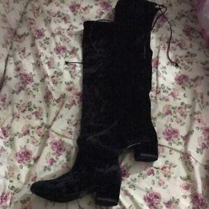 Black Velvet Over The Knee High Boots