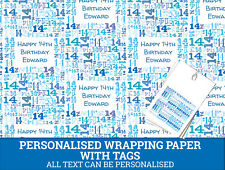 Personalised Happy 14th Birthday Wrapping paper - Blue Gift wrap with number 14