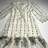 Guess Los Angeles size XS white brown diamond paisley print dress