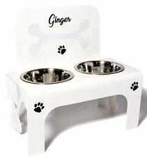 Large raised dog bowl feeder stainless steel bowls personalised