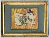 """Aquarell im """"Trompe-l'œil""""-Stil. Signiert und datiert in Goldleiste von 1872"""